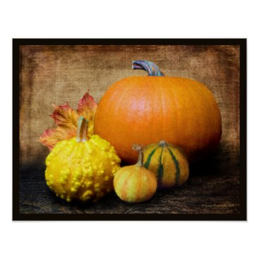 Beach Themed Pumpkin Gourds Still Life Poster