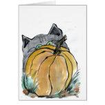 Pumpkin & Gray Kitten, Sumi-e Cards