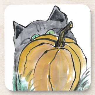 Pumpkin & Gray Kitten, Sumi-e Drink Coaster