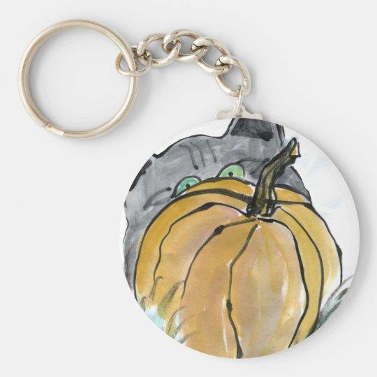 Pumpkin & Gray Kitten, Sumi-e Keychain