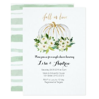 Pumpkin Greenery Fall in Love Couples Shower Invitation