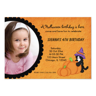 "Pumpkin Halloween Birthday 5"" X 7"" Invitation Card"