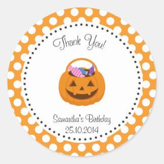Pumpkin Halloween Birthday Thank You Sticker