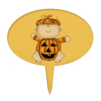 Pumpkin Halloween Costume on Baby Cake Topper