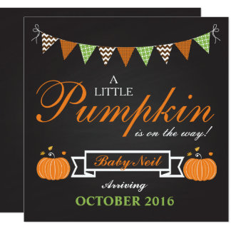 Pumpkin Halloween Fall Pregnancy Announcement Card