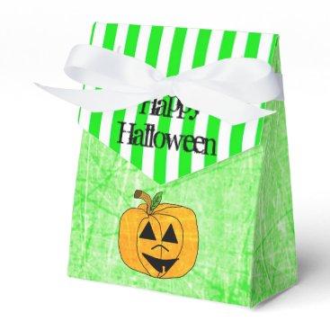 Halloween Themed Pumpkin Halloween Lime Green Striped Favor Bag Favor Box