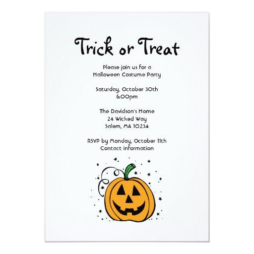 "Pumpkin Halloween Party Invitation 5"" X 7"" Invitation Card"