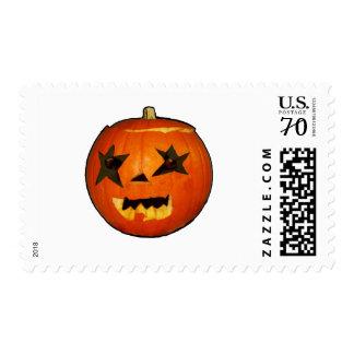 pumpkin halloween scare horror design postage