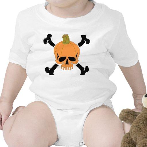 Pumpkin Halloween Skull Baby Bodysuit