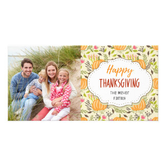 Pumpkin Harvest Happy Thanksgiving Photo Card