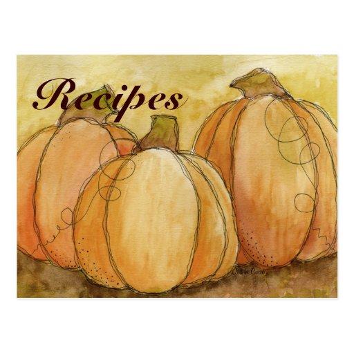 Pumpkin Harvest Recipe Card Postcard