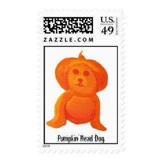 Pumpkin Head Dog Postage Stamp