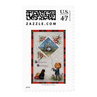 Pumpkin Head Flying a Kite in a Chimney Postage