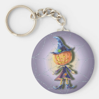 PUMPKIN HEAD & GHOSTS by SHARON SHARPE Keychain