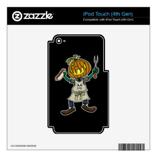 Pumpkin Head Grilling Decals For iPod Touch 4G