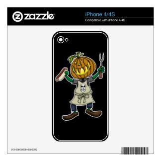 Pumpkin Head Grilling iPhone 4 Decals