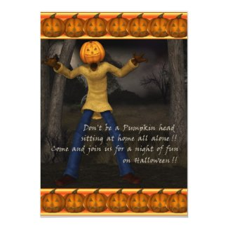 Pumpkin Head Halloween Invitation