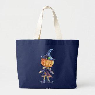PUMPKIN HEAD & HAT by SHARON SHARPE Large Tote Bag