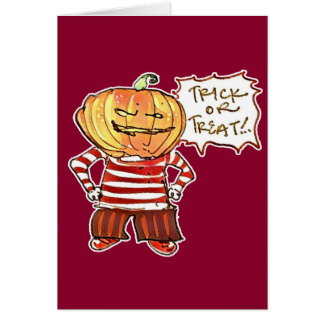 pumpkin head kid say trick or treat halloween card - What To Say In A Halloween Card