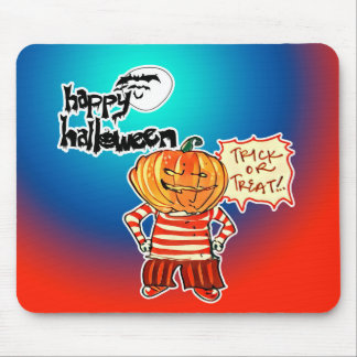 pumpkin head kid says trick or treat halloween mouse pad