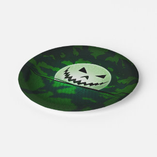 Pumpkin Head On Green Background 7 Inch Paper Plate