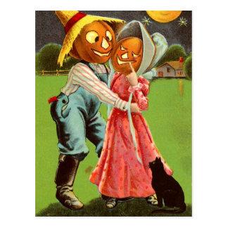Pumpkin-Head Scarecrow Couple in Love Postcard
