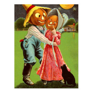 Pumpkin-Head Scarecrow Couple in Love Postcard