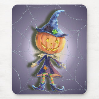 PUMPKIN HEAD & SPIDER WEB by SHARON Mouse Pad