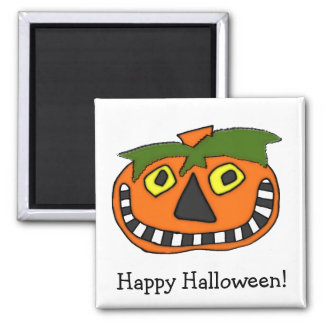 Pumpkin Head Trick or Treat 2 Inch Square Magnet