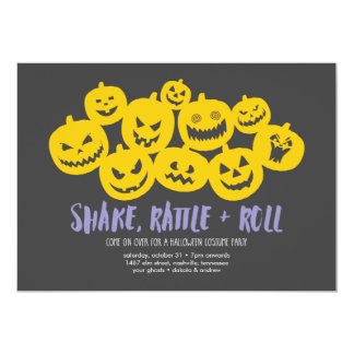 Pumpkin Heap Halloween Party Card
