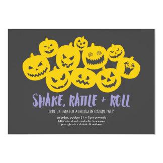 Pumpkin Heap Halloween Party Card