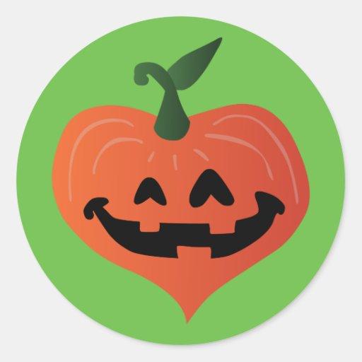 Pumpkin Heart Round Stickers