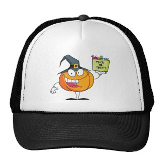 Pumpkin holds bucket of candy mesh hat