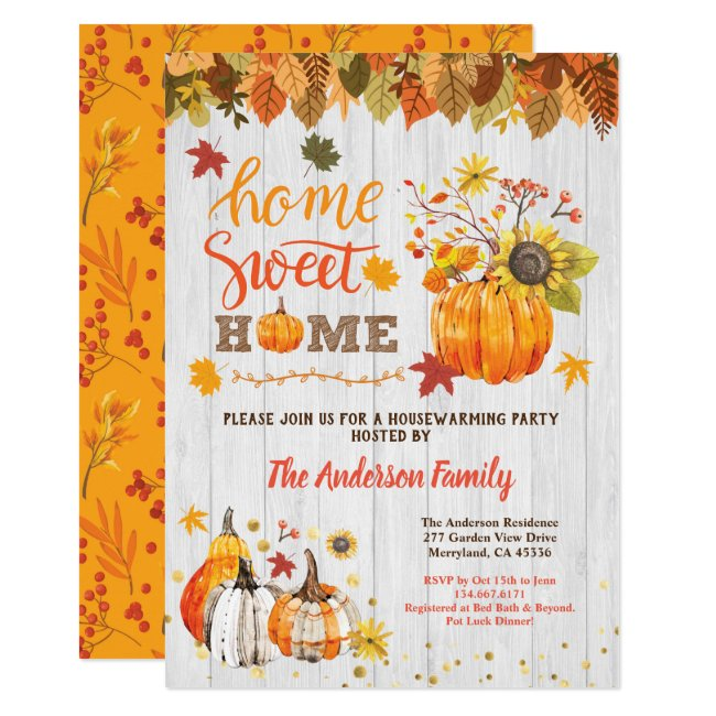 Pumpkin housewarming party rustic wood fall invitation