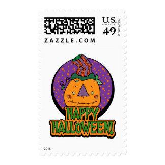 Pumpkin In Funny Hat Halloween Stamps