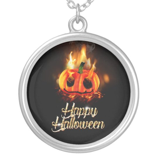 Pumpkin in Hell Silver Plated Necklace