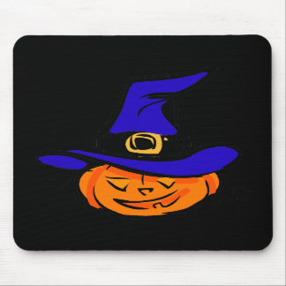 Pumpkin in witches hat mouse pads