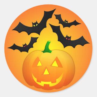 Pumpkin Jack and Bats Orange Classic Round Sticker