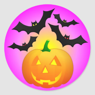 Pumpkin Jack and Bats Pink Classic Round Sticker
