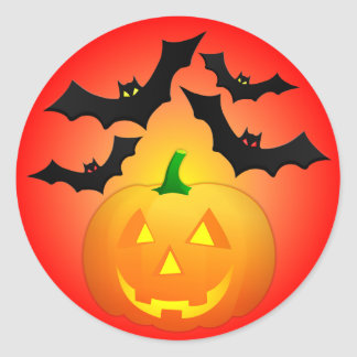 Pumpkin Jack and Bats Red Classic Round Sticker