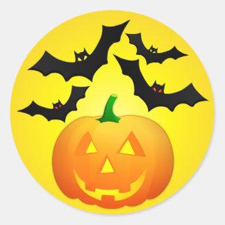 Pumpkin Jack and Bats Yellow Classic Round Sticker