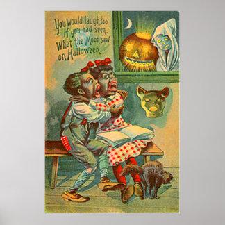 Pumpkin Jack O Lantern Black Cat Ghost Poster