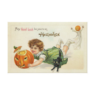 Pumpkin Jack O Lantern Black Cat Girl Canvas Print