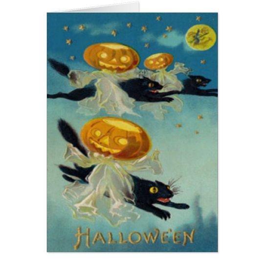 Pumpkin Jack O Lantern Black Cat Witch Card