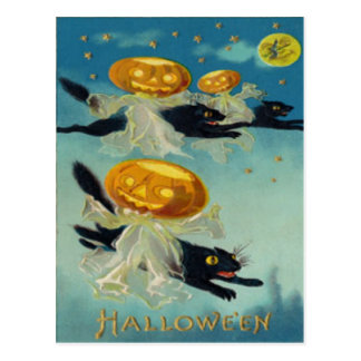 Pumpkin Jack O Lantern Black Cat Witch Postcard