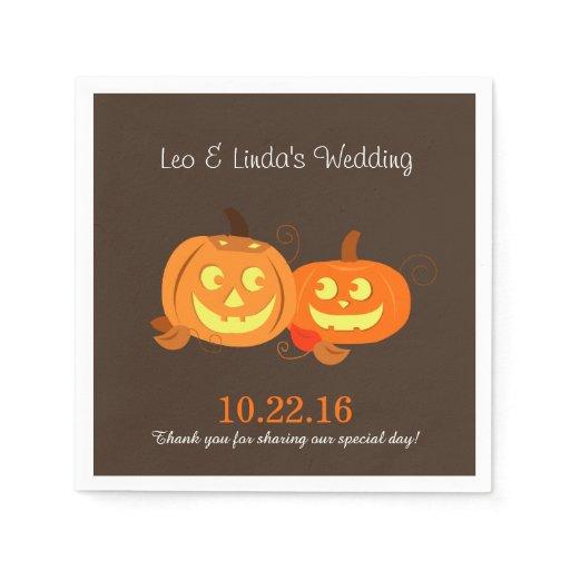 Pumpkin Jack O Lantern Bride/Groom Wedding Napkins