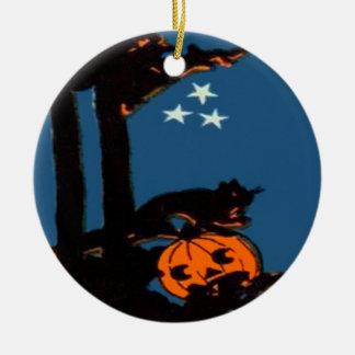 Pumpkin Jack O' Lantern Cat Orange Black Ceramic Ornament