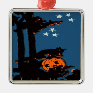 Pumpkin Jack O' Lantern Cat Orange Black Metal Ornament