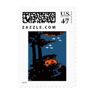 Pumpkin Jack O' Lantern Cat Orange Black Postage