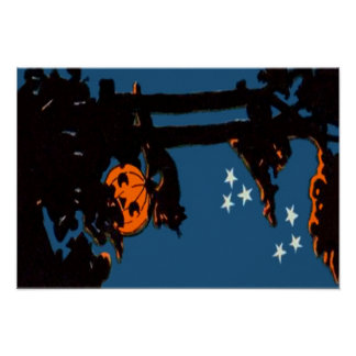 Pumpkin Jack O' Lantern Cat Orange Black Poster